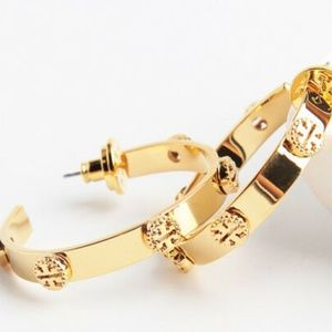 Tory Burch Studded Logo Hoop Earrings Gold
